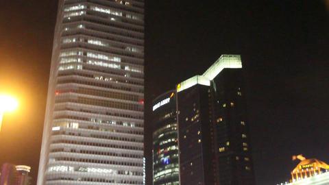 Shanghai IFC Building Night Tilt Shot stock footage