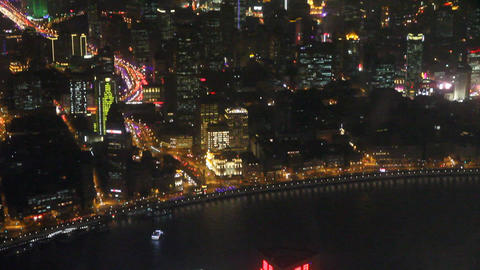 Shanghai Bund in the evening seen from the Shangha Footage