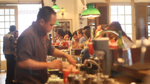 scene at the famous raffles hotel long bar Footage