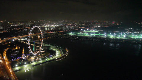 aerial view of the Singapore flyer ferris wheel &  Footage