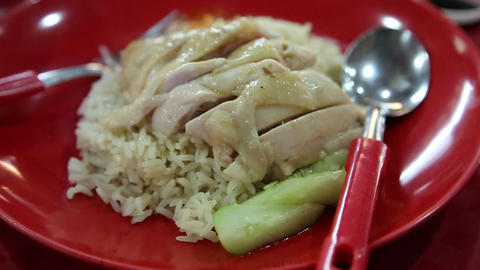 Authentic Singapore Chicken Rice stock footage