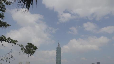 view of Taipe 101 displaying joyful from Mao Kong Footage