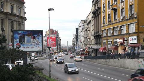 Traffic at Brankova street in Belgrade, Serbia Footage
