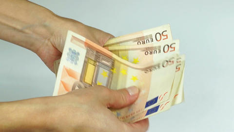 Counting Euro banknotes Footage