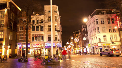 The Center Of Amsterdam At Night stock footage