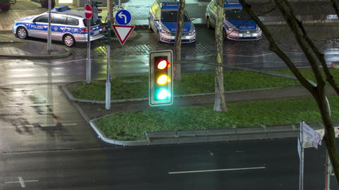 Traffic light in the city. Time Lapse Footage