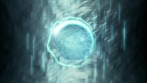Blue liquid sphere surrounded by light streaks Animation