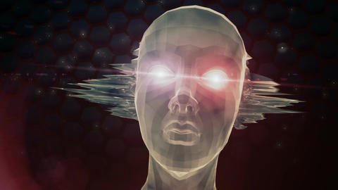 Floating Head With Glowing Eyes And Bursting Ears stock footage