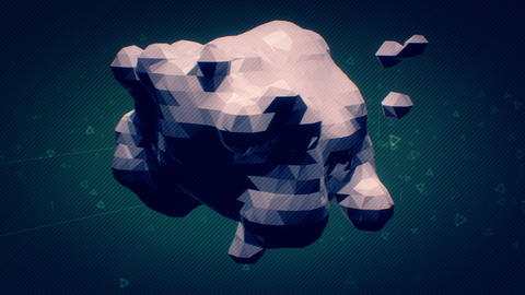 Multicolored 3D polygon rotates and disintegrates Animation