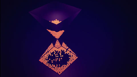 Orange 3D spheres falling inside of an hourglass Animation