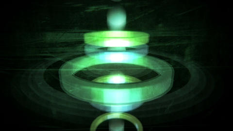 Spheres flying and bouncing fast through 3D rings Animation