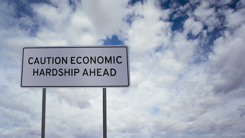 Sign Economic Hardship Clouds Timelapse Footage
