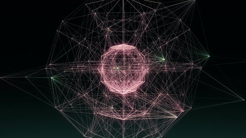 Spherical network of glowing lines & dancing dots Animation