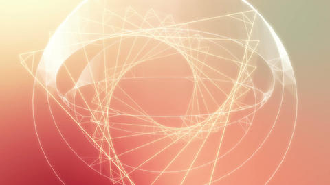 Twisting triangle and sphere 3D wireframe loop, Stock Animation