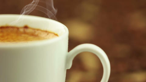Coffee Beans BG And Cup With Steam stock footage