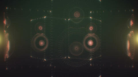 Digital 3D speakers thumping and pulsating Animation