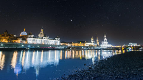 4k UHD Old City Dresden Night Time Lapse Wide stock footage