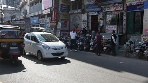 traffic on indian street in Udaipur Footage