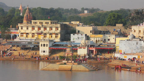 Ritual Bathing In Holy Lake - Pushkar India stock footage