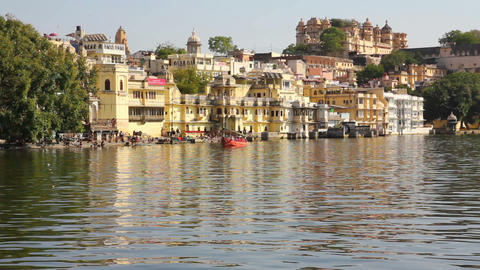 Pichola Lake In Udaipur India stock footage