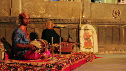 musicians on performance in Udaipur India Live Action