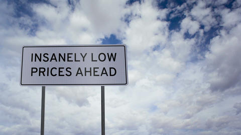 Sign Low Prices Clouds Timelapse Footage
