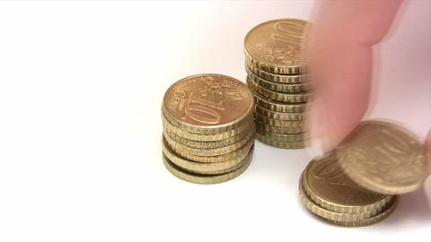Stacking Euro Cent Coins Footage