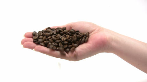 Handful Of Coffee Beans stock footage