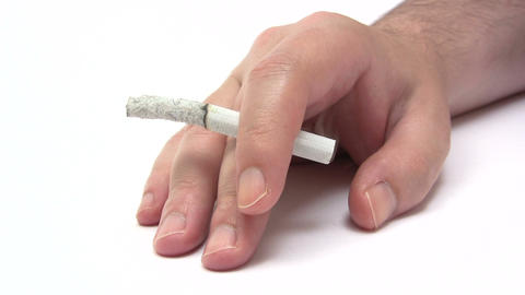 Hand With Cigarette - Time Lapse Footage