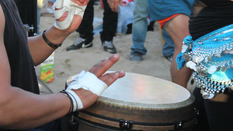 Djembe Drummer At Venice Beach Drum Circle stock footage