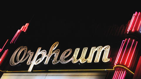 Flashing Neon Sign At The Orpheum Theatre Footage