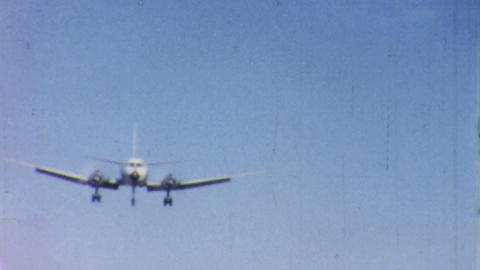 Large Airplane Comes In For Landing 1958 Vintage stock footage