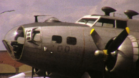 Mechanics Working On Old Military Aircraft 1972 stock footage