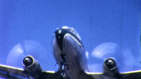 Old Airplane Comes In For Landing 1958 Vintage 8mm stock footage