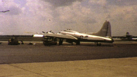 Old Military Aircraft Sits At Airport 1972 Vintage Footage