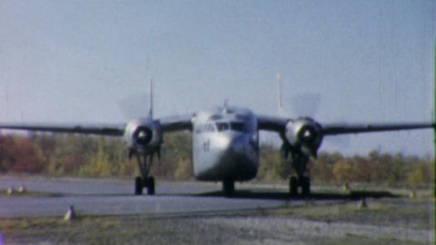 Old Military Cargo Aircraft Takes Off 1958 Footage