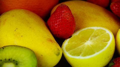 Rotation Of Delicious Fruit Plate stock footage