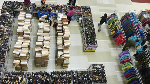 lookdown people shopping for clothes & shoes in shopping mall,china Animation