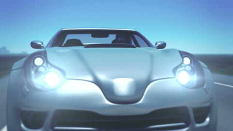Silver Sports Car (with flares) Animation
