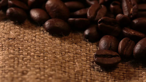 Coffee Beans and Sackcloth. Macro Footage