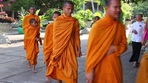 Monks go to pray. Buddha Footage