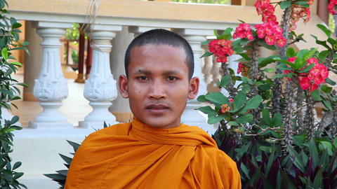 Happy Buddhist Monk Smiling In Temple, Cambodia Footage