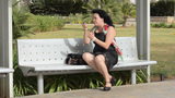 Mature Woman Scolding By Mobile stock footage