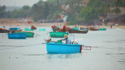 Vietnamese Fishers stock footage