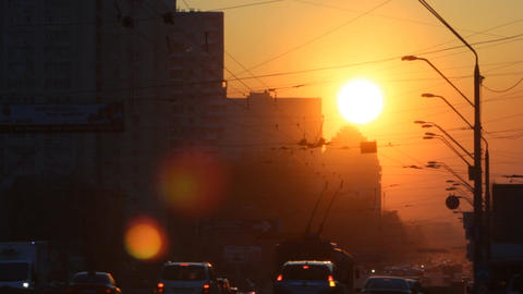 Urban Sunset Road A stock footage