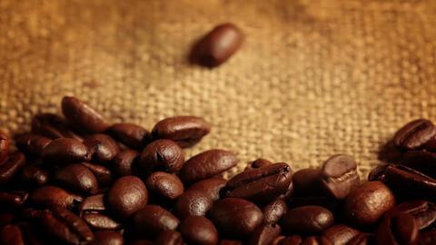 Coffee Beans Falling. Macro Footage