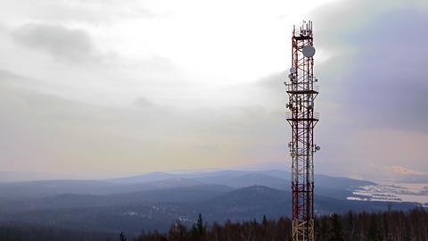 Antennas on the iron tower. Time Lapse Footage