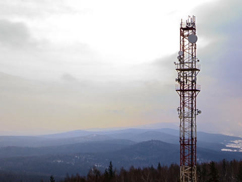 Antennas on the iron tower. Time Lapse. 640x480 Footage
