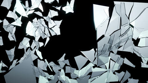 4K Broken and Shattered glass with slow motion. Al Animation