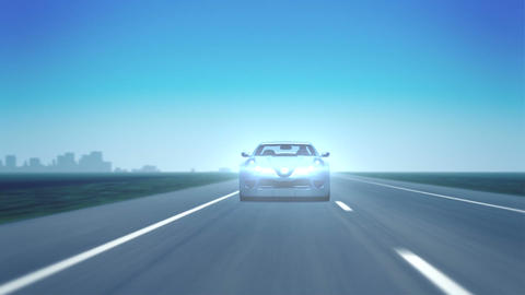 Silver Sports Car (Front, Lens Flares) stock footage